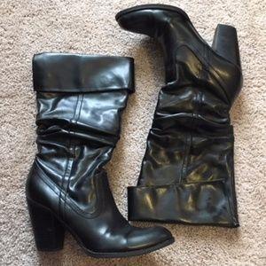 Black Leather Below the Knee Block Heel Boots